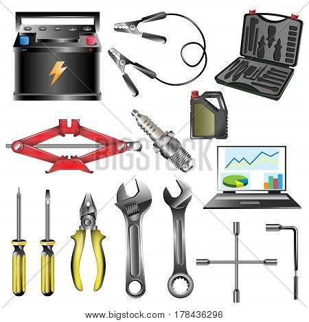 Car service tool car repair diagnostics tuning professional auto repair vector illustration