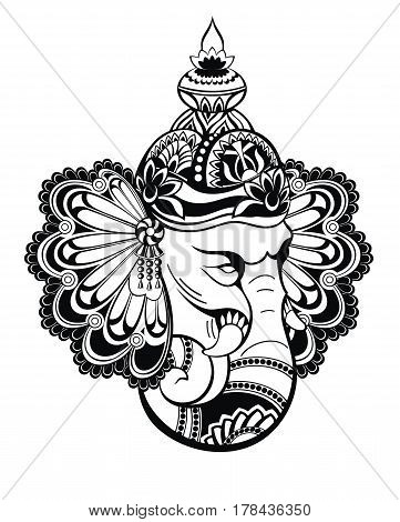 Hindu Lord Ganesha. Elephant illustration for your design