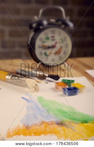 Paint Brushes Clock Painter Work Place Photo