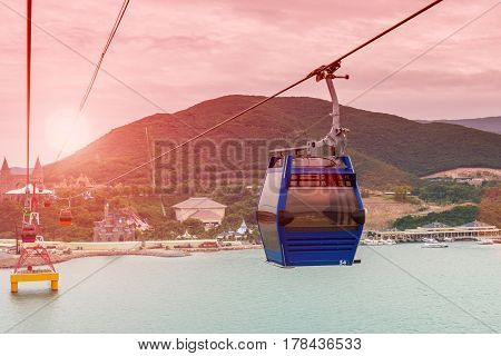 One of the world's longest cableway, leading to Vinpearl Amusement Park. Nha Trang, Vietnam.