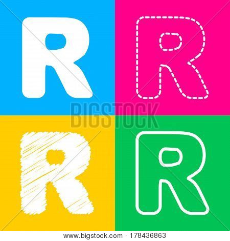 Letter R sign design template element. Four styles of icon on four color squares.