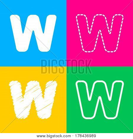 Letter W sign design template element. Four styles of icon on four color squares.