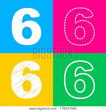 Number 6 sign design template element. Four styles of icon on four color squares.