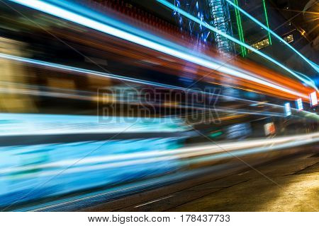 urban traffic with cityscape in Hong KongChina.