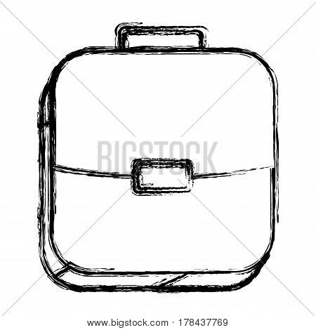 square sketch button with briefcase vector illustration