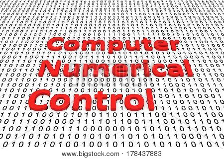 computer numerical control in the form of binary code, 3D illustration