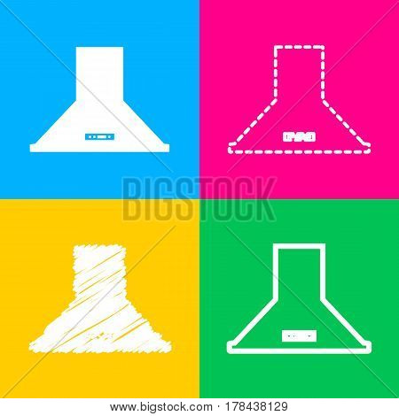 Exhaust hood. Kitchen ventilation sign. Four styles of icon on four color squares.
