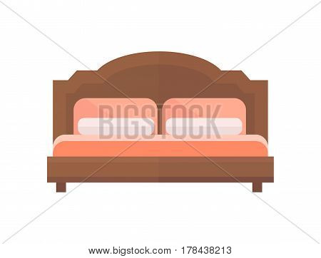 Exclusive sleeping furniture design bedroom with bed mattress and interior room comfortable home relaxation apartment decor vector illustration. Luxury night bedding sleep hammock.