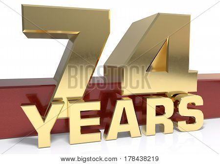 Golden digit seventy four and the word of the year. 3D illustration