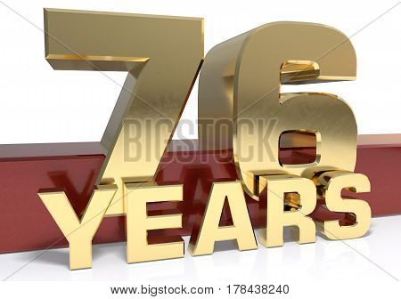 Golden digit seventy six and the word of the year. 3D illustration