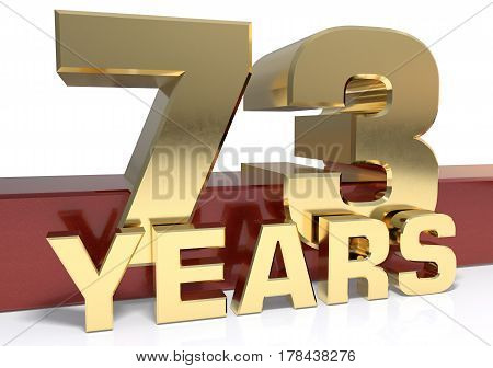 Golden digit seventy three and the word of the year. 3D illustration