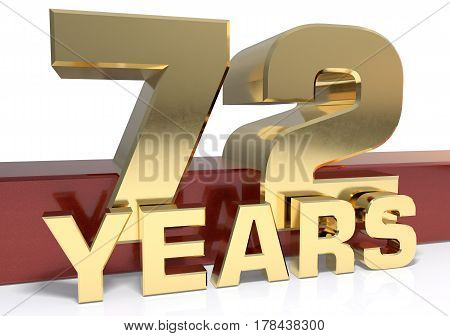 Golden digit seventy two and the word of the year. 3D illustration