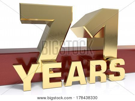 Golden digit seventy one and the word of the year. 3D illustration