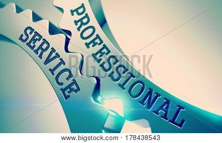 Professional Service on the Mechanism of Shiny Metal Cogwheels. Enterprises Concept in Technical Design . Professional Service - Illustration with Lens Effect . 3D Illustration .