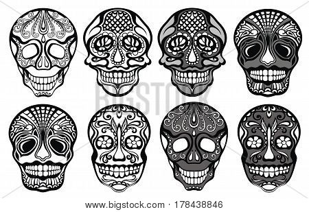 Sugar skulls set. Vector illustration of skulls