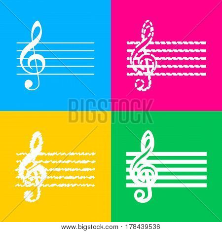 Music violin clef sign. G-clef. Four styles of icon on four color squares.