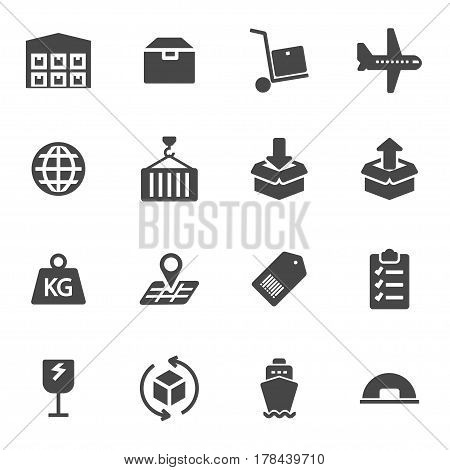 Vector black logistics icons set on white background