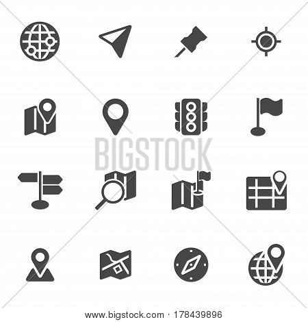 Vector black map icons set on white background
