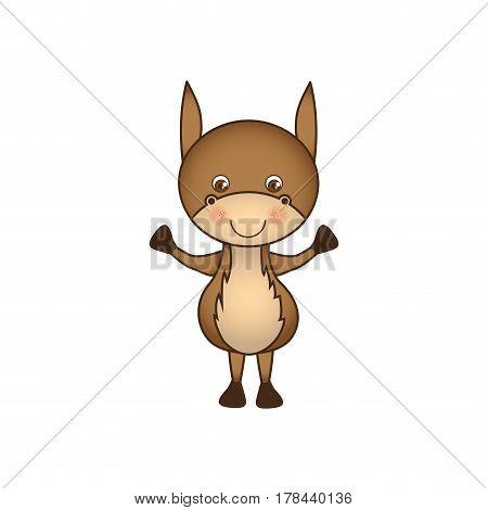 colorful caricature cute donkey animal farm icon vector illustration