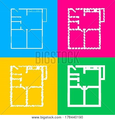 Apartment house floor plans. Four styles of icon on four color squares.