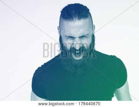 Adult Man Scream Face Expression Emotion Studio