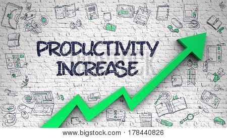 Productivity Increase - Improvement Concept with Hand Drawn Icons Around on the White Brick Wall Background. Productivity Increase Drawn on White Brickwall. Illustration with Hand Drawn Icons. 3d.