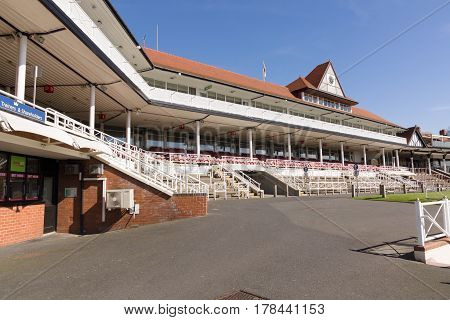 Chester England UK - March 25 2017: Chester Racecourse or the Roodee the oldest flat turf racing race track in England in use since 1539 it also one of the smallest in the country