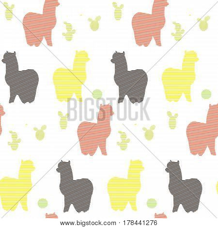 Seamless pattern with llamas and cactus..Vector flat for print. Vector cute Alpaca llama animal