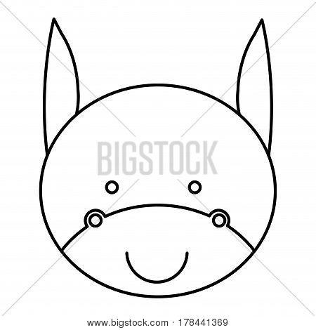 silhouette caricature cute face donkey animal farm icon vector illustration