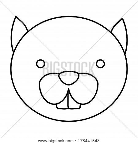 silhouette caricature face cute chipmunk animal rodent vector illustration