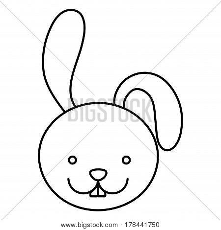silhouette caricature face rabbit animal vector illustration