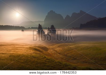 Misty landscape view in Alpe di Siusi or Seiser Alm towards the rising sun. Beautiful photo in back lighting - Dolomites mountain range Italy.