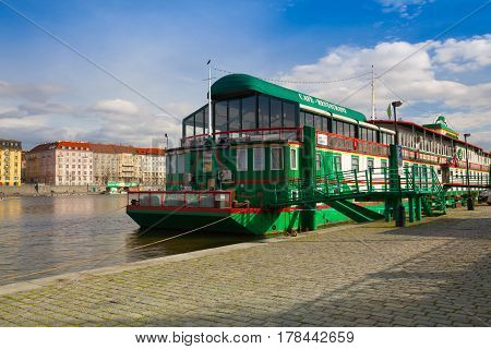 Prague Czech Republic - March 20 2017: Botel Admiral on the Vltava river in Prague.In Admiral Botel is romantic and comfortable accommodation in a central location Prague.