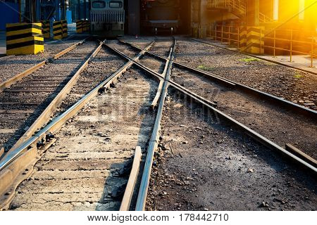 empty grunge railroad tracks,freight transportation,transport and industry concept.