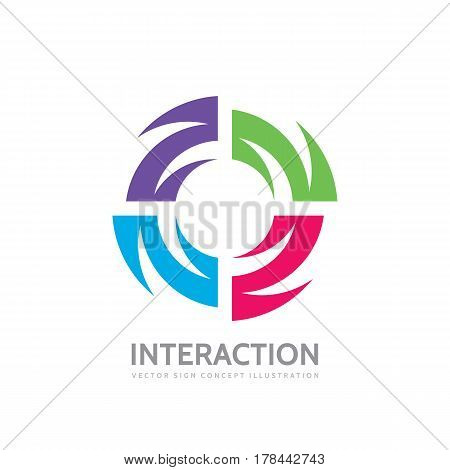 Interaction - vector logo template concept illustration. Alliance creative sign. Abstract shape symbol. Four colored design elements.