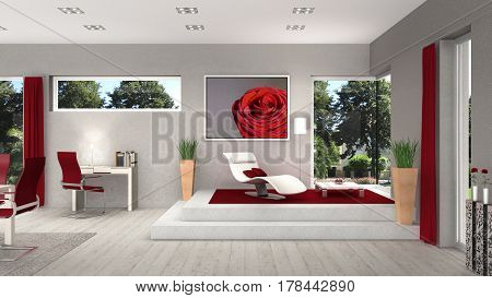 3D rendering of a living room interior with modern windows and view to the garden