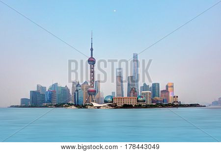 Shanghai skyline in a China at day