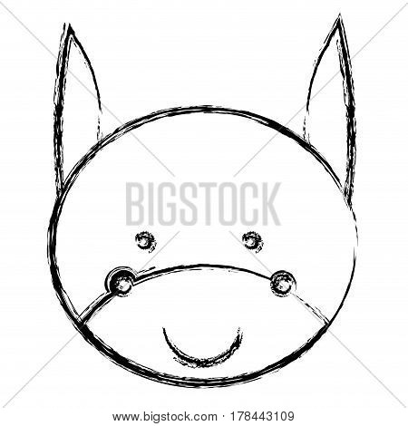 blurred silhouette caricature cute face donkey animal farm icon vector illustration