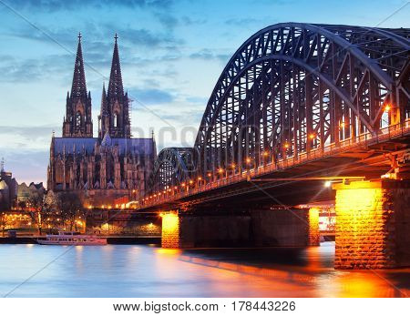 Birdge and cathedral in Cologne Germany at a night