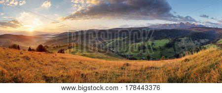 Panorama of Slovakia Tatras with meadow Beilanske Tatry