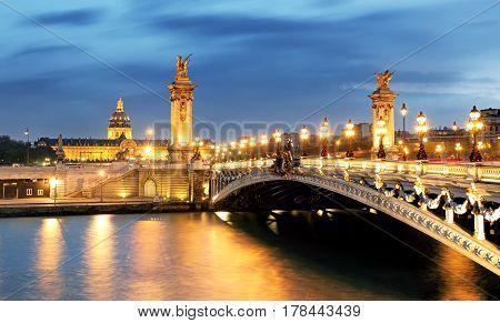 Paris bridge Alexandre 3 III and Seine river