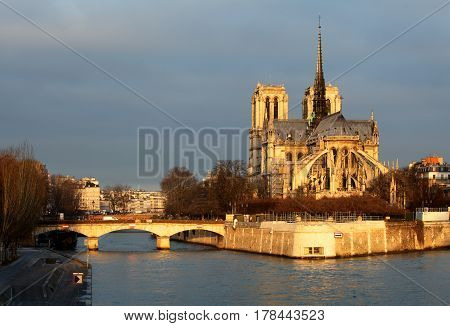 Notre Dame in Paris France at sunset
