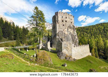 Ruins of Burg Buchenstein Castle - Burg Andraz Dolomites Italy