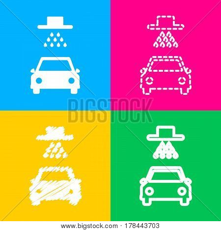 Car wash sign. Four styles of icon on four color squares.