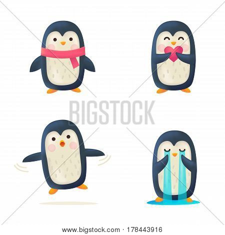 Set of cute penguin isolated. Vector illustration cartoon style.