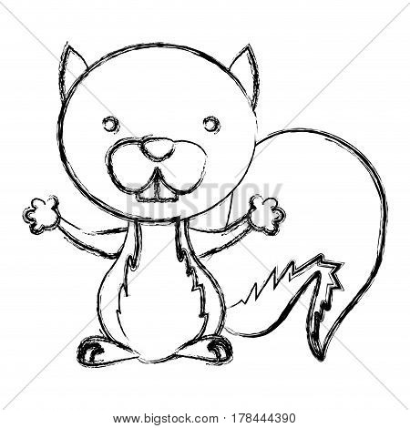 blurred sketch silhouette cute chipmunk animal rodent vector illustration