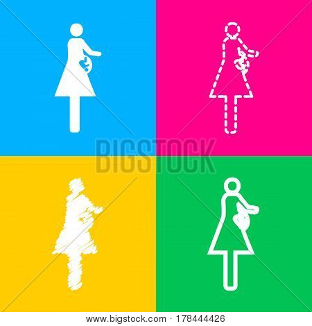 Women and baby sign. Four styles of icon on four color squares.