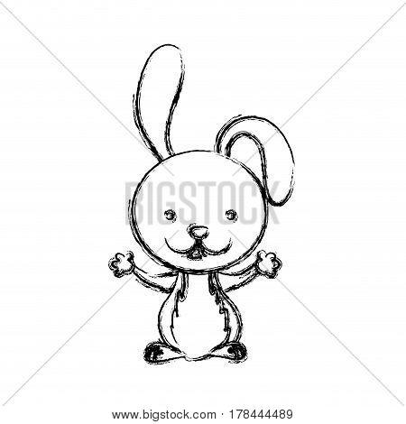 blurred sketch silhouette cute rabbit animal vector illustration