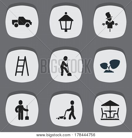 Set Of 9 Editable Gardening Icons. Includes Symbols Such As Stairway, Grass Cutting Machine, Bugaboo And More. Can Be Used For Web, Mobile, UI And Infographic Design.