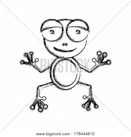 blurred sketch silhouette cartoon cute toad amphibian vector illustration